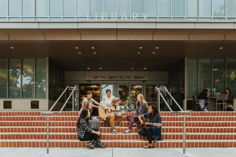 Students Outside Library